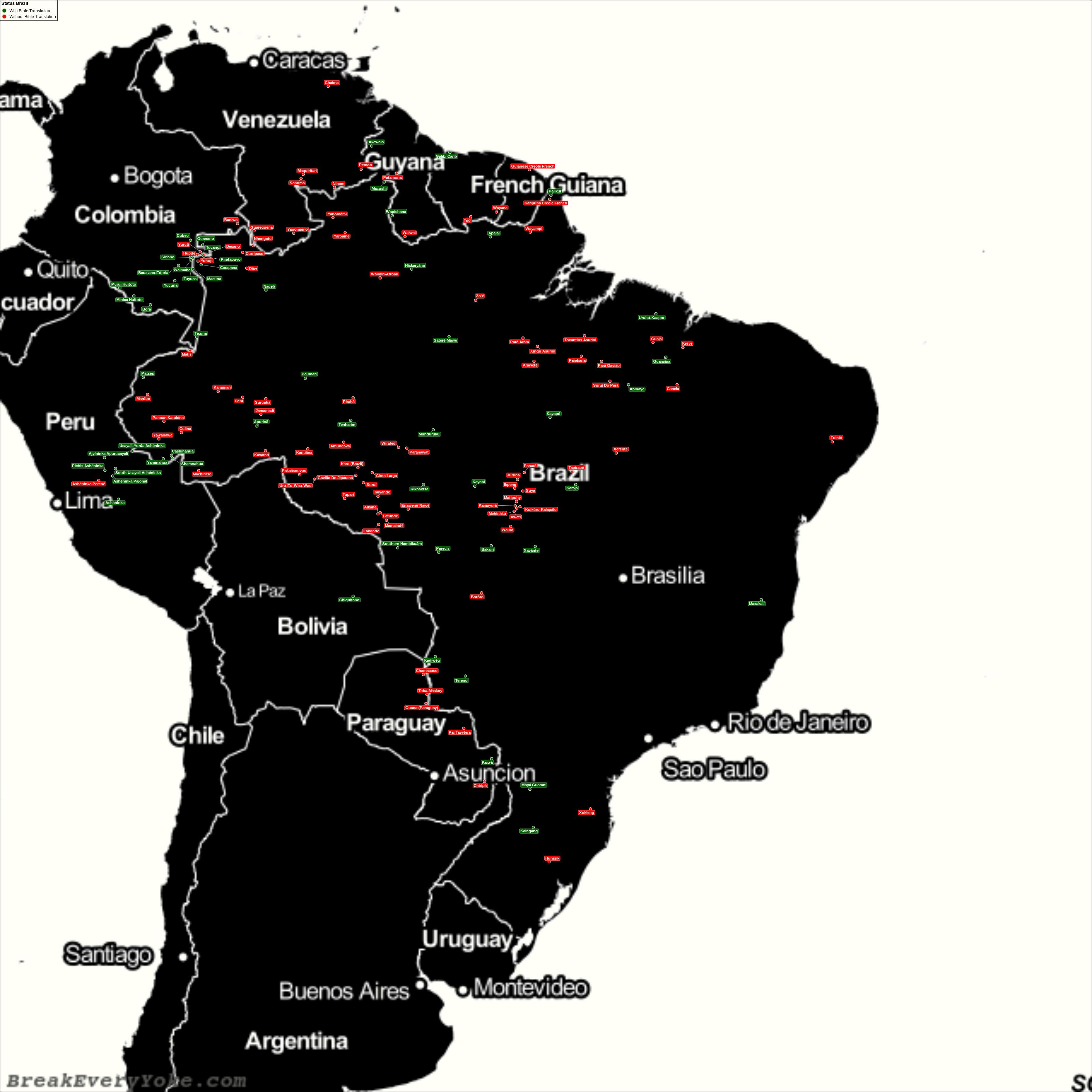 Complete and detailed map of all languages with and without a free Bible Translation in Brazil
