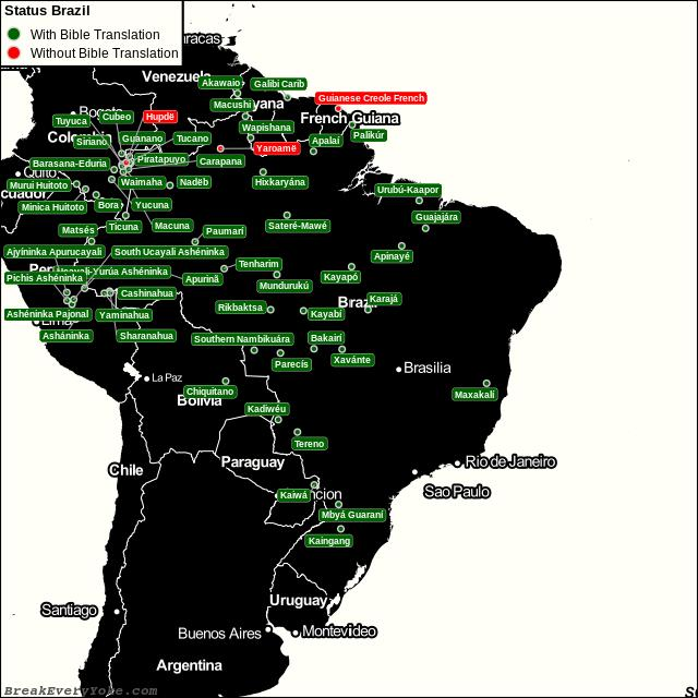 All languages with and without a free Bible Translation in Brazil