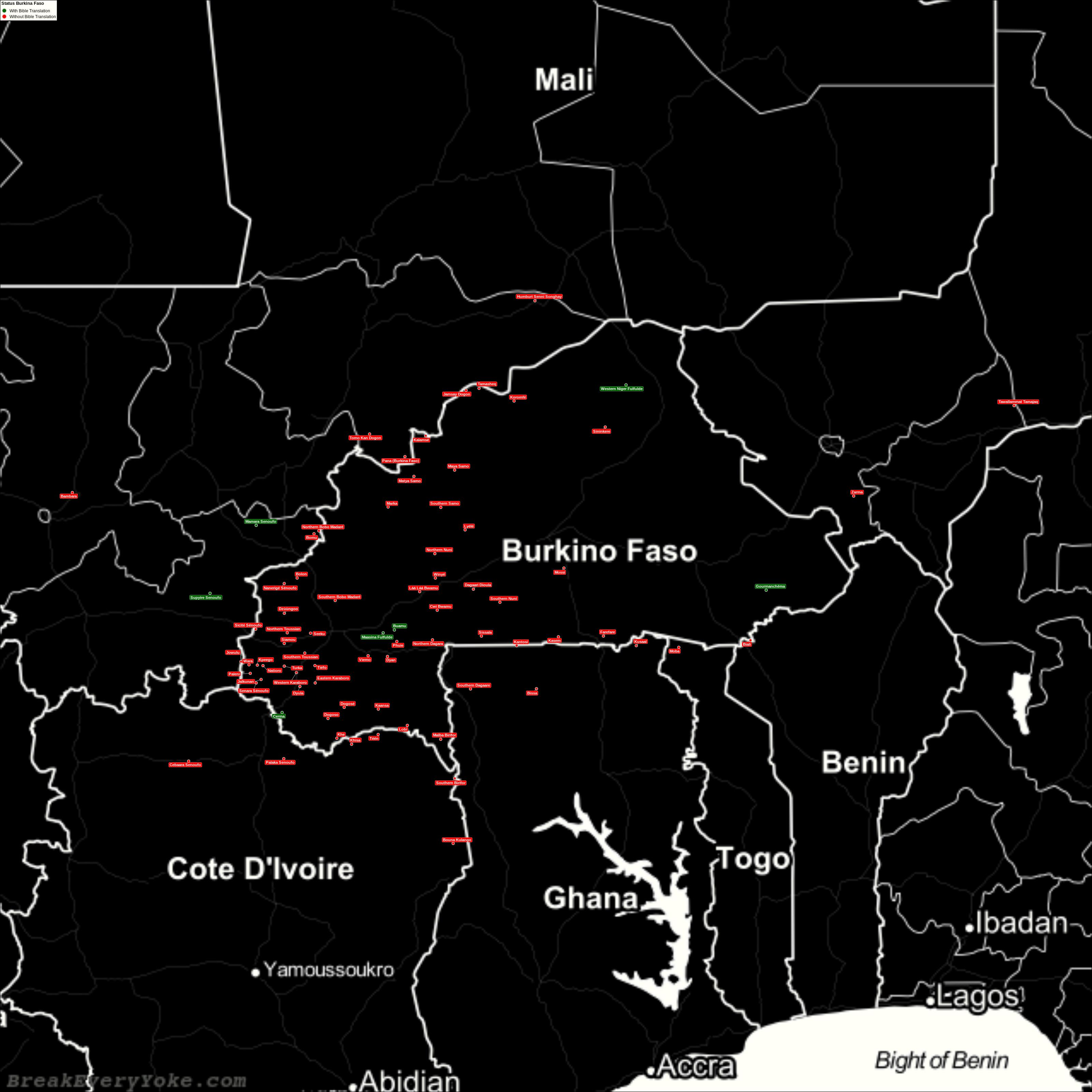 Complete and detailed map of all languages with and without a free Bible Translation in Burkina Faso