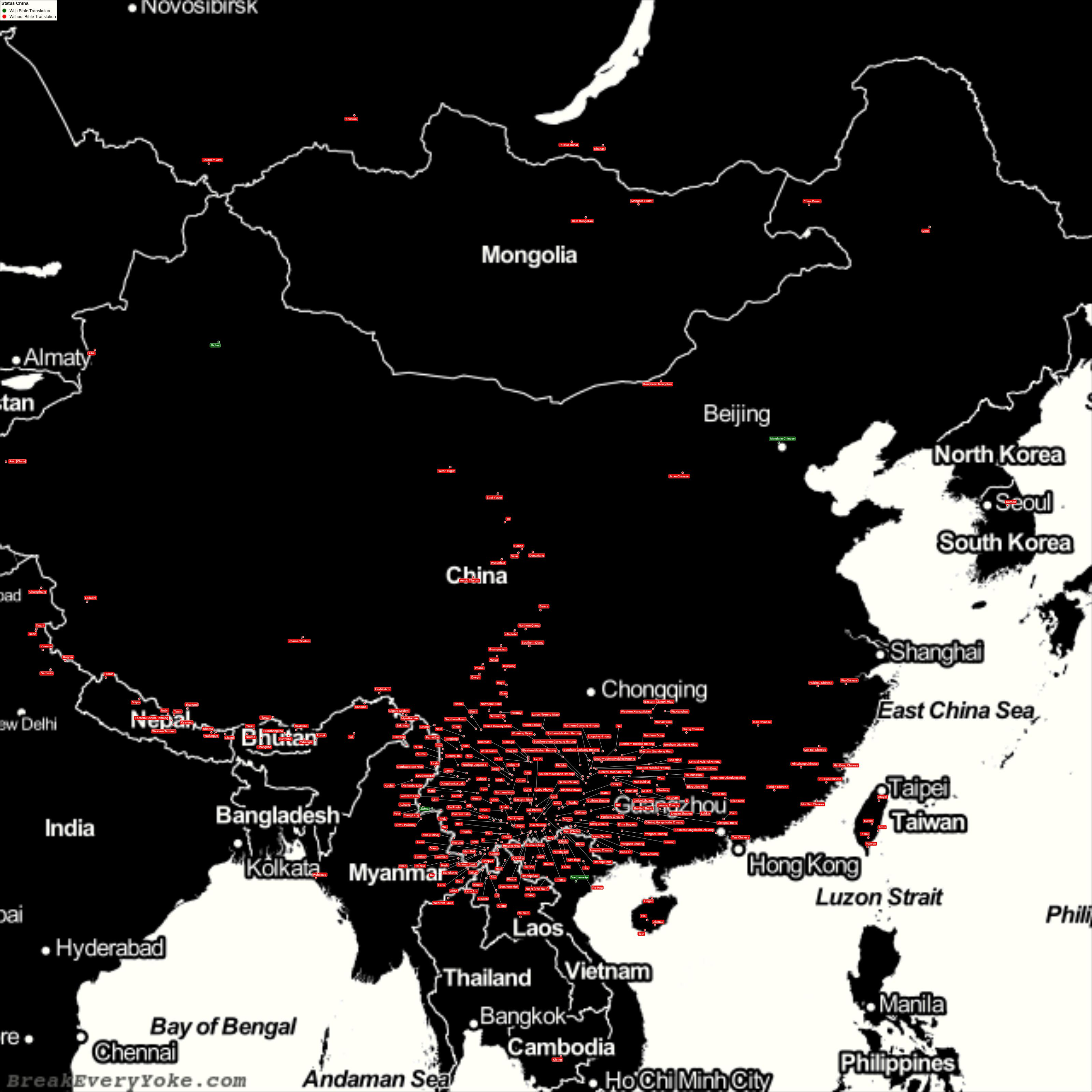Complete and detailed map of all languages with and without a free Bible Translation in China