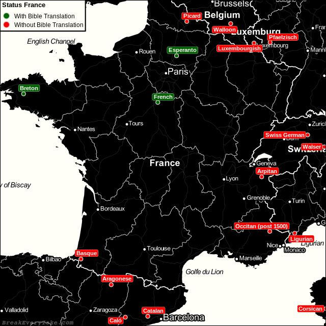 All languages with and without a free Bible Translation in France