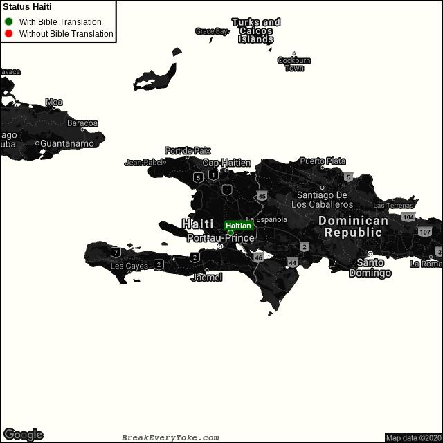 All languages with and without a free Bible Translation in Haiti