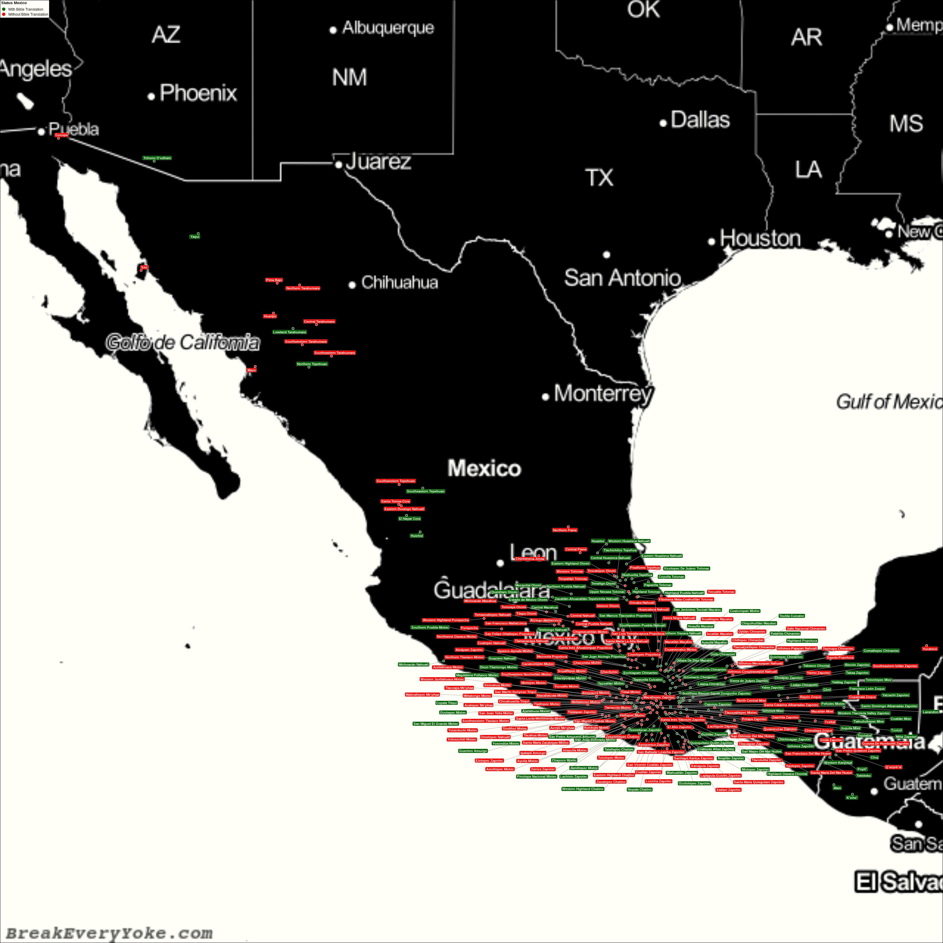 Complete and detailed map of all languages with and without a free Bible Translation in Mexico
